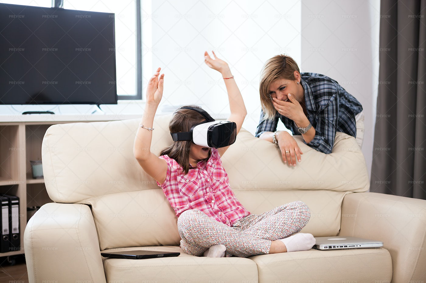 Happy Kid Wearing VR Goggles: Stock Photos