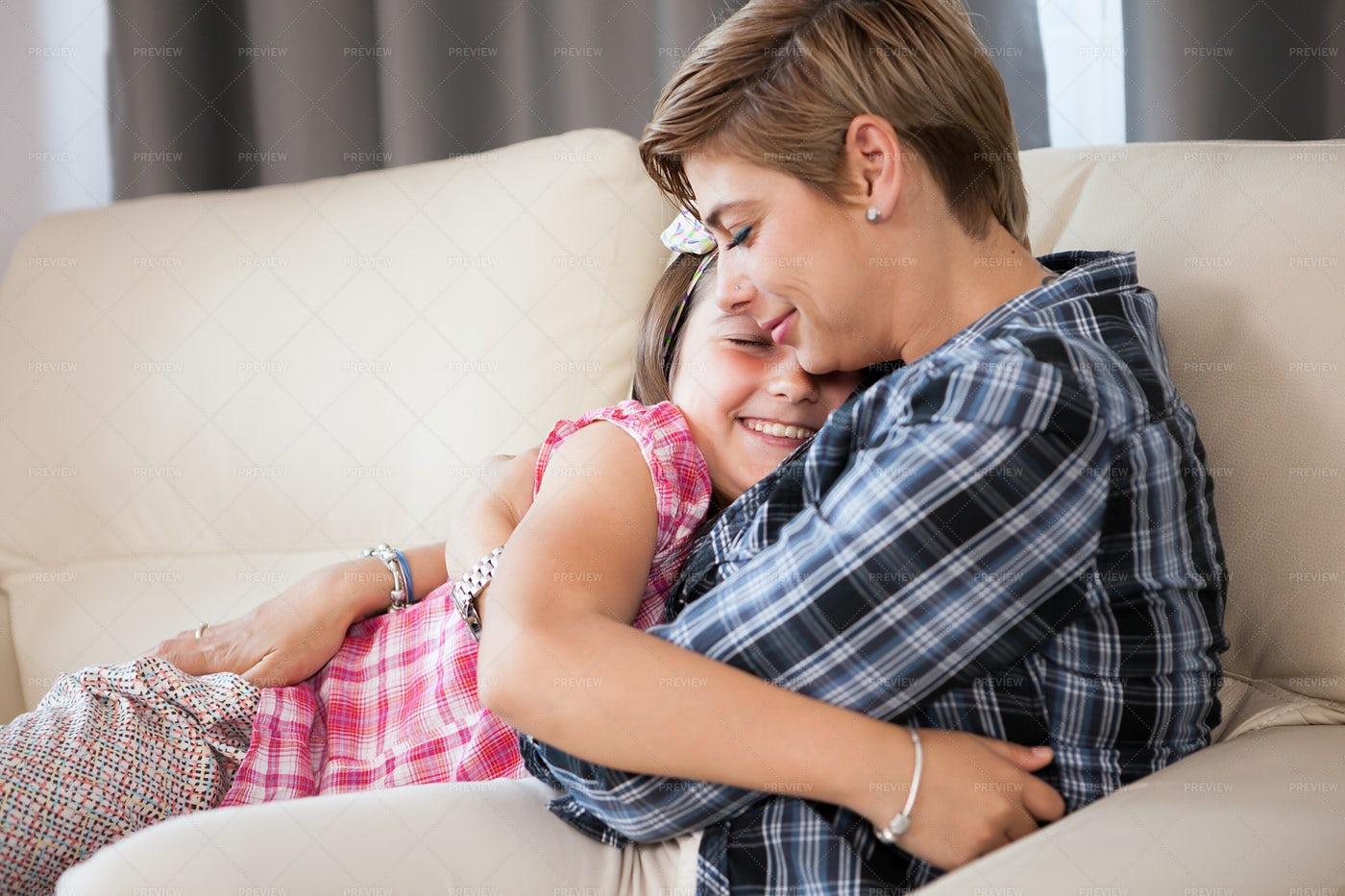 Mother And Daughter Hug: Stock Photos