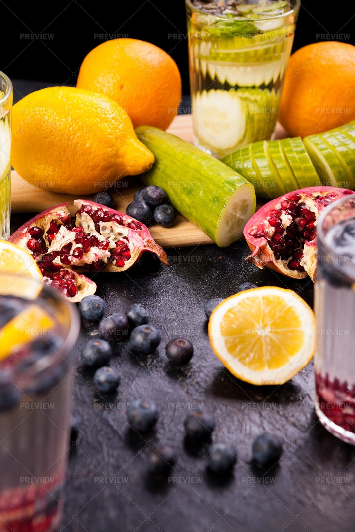 Fruits, Vegetables And Water Infusion: Stock Photos