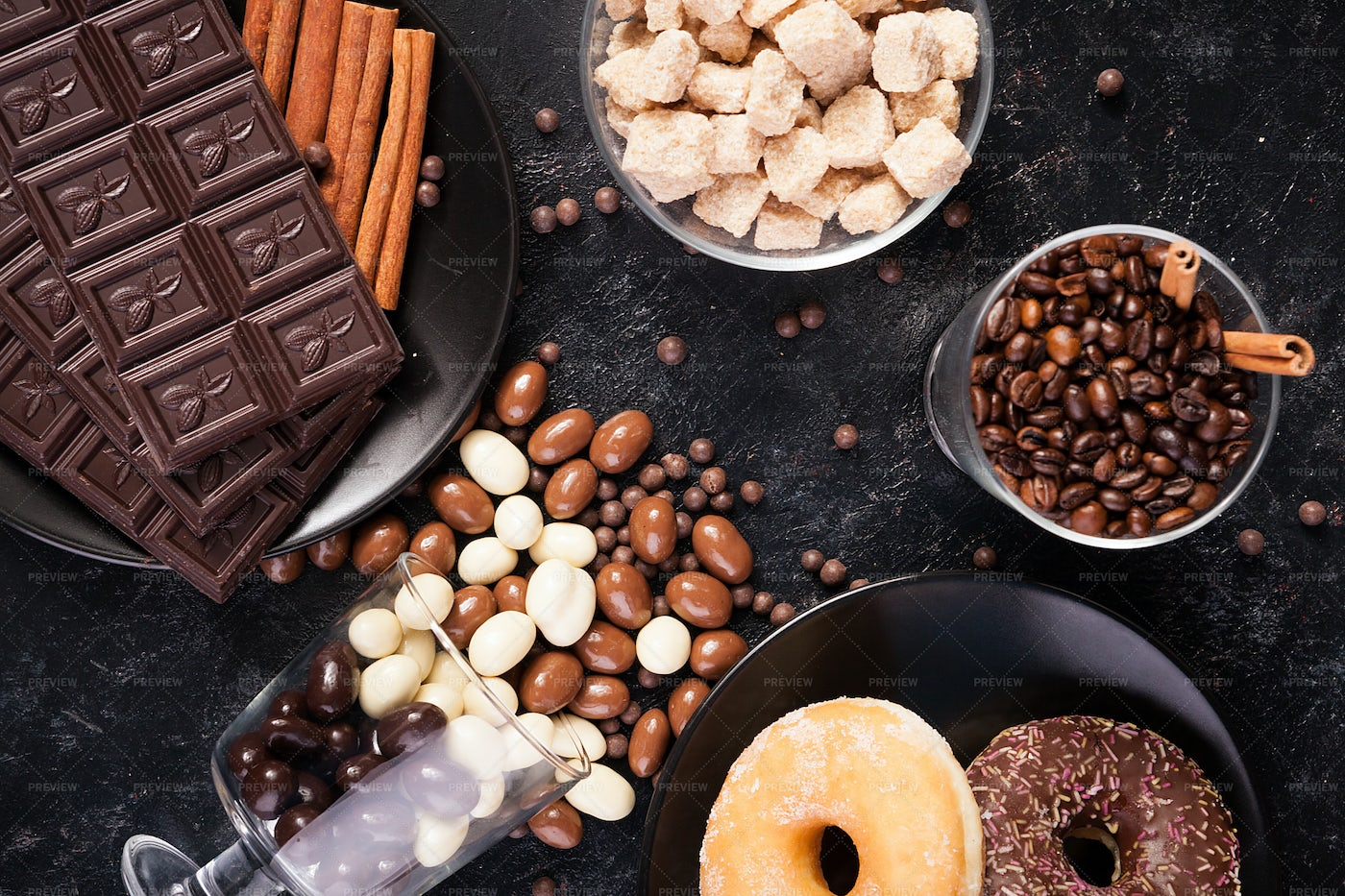 Chocolate And Various Sweets: Stock Photos