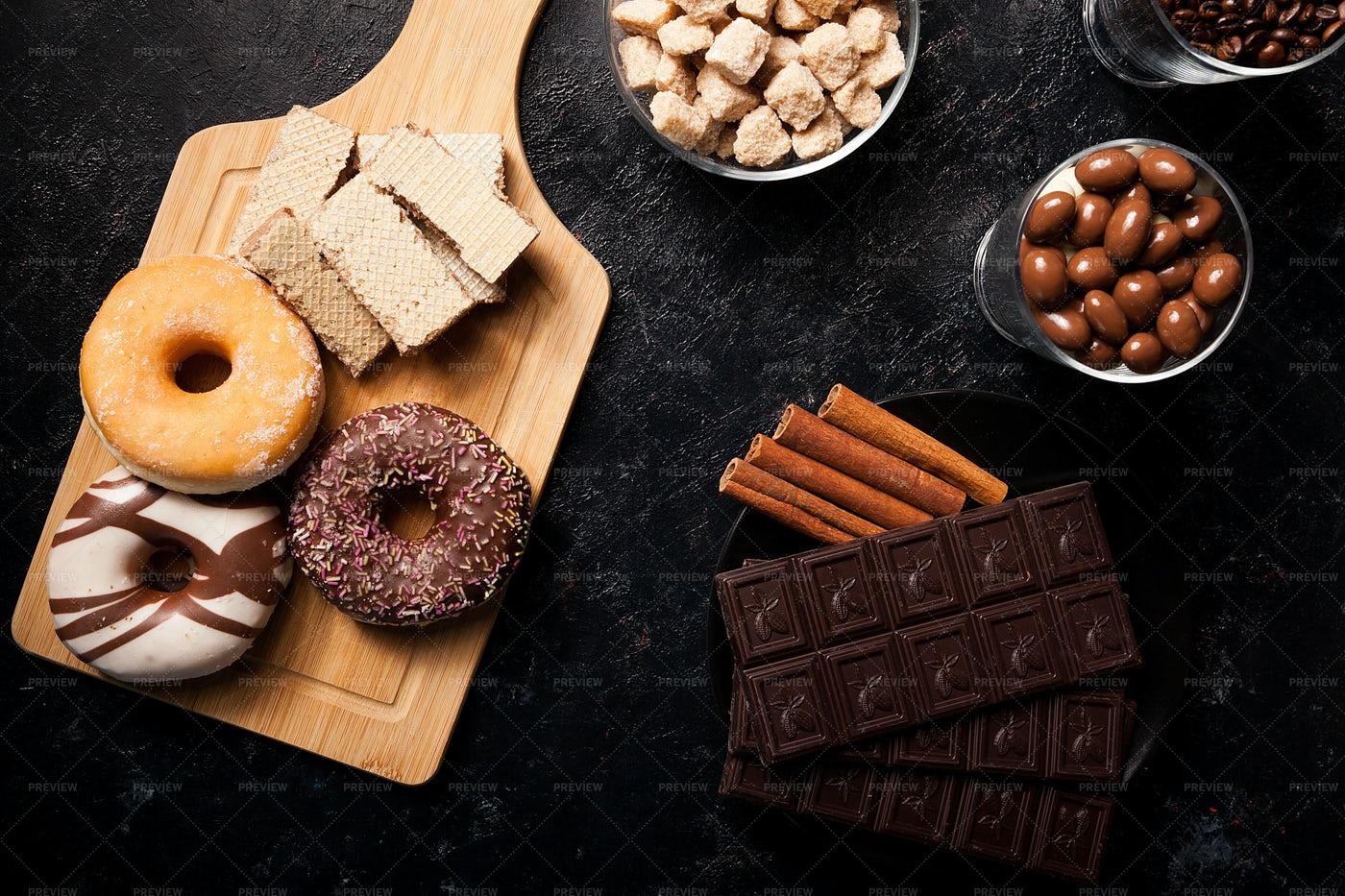 Various Sweets Flat-Lay: Stock Photos