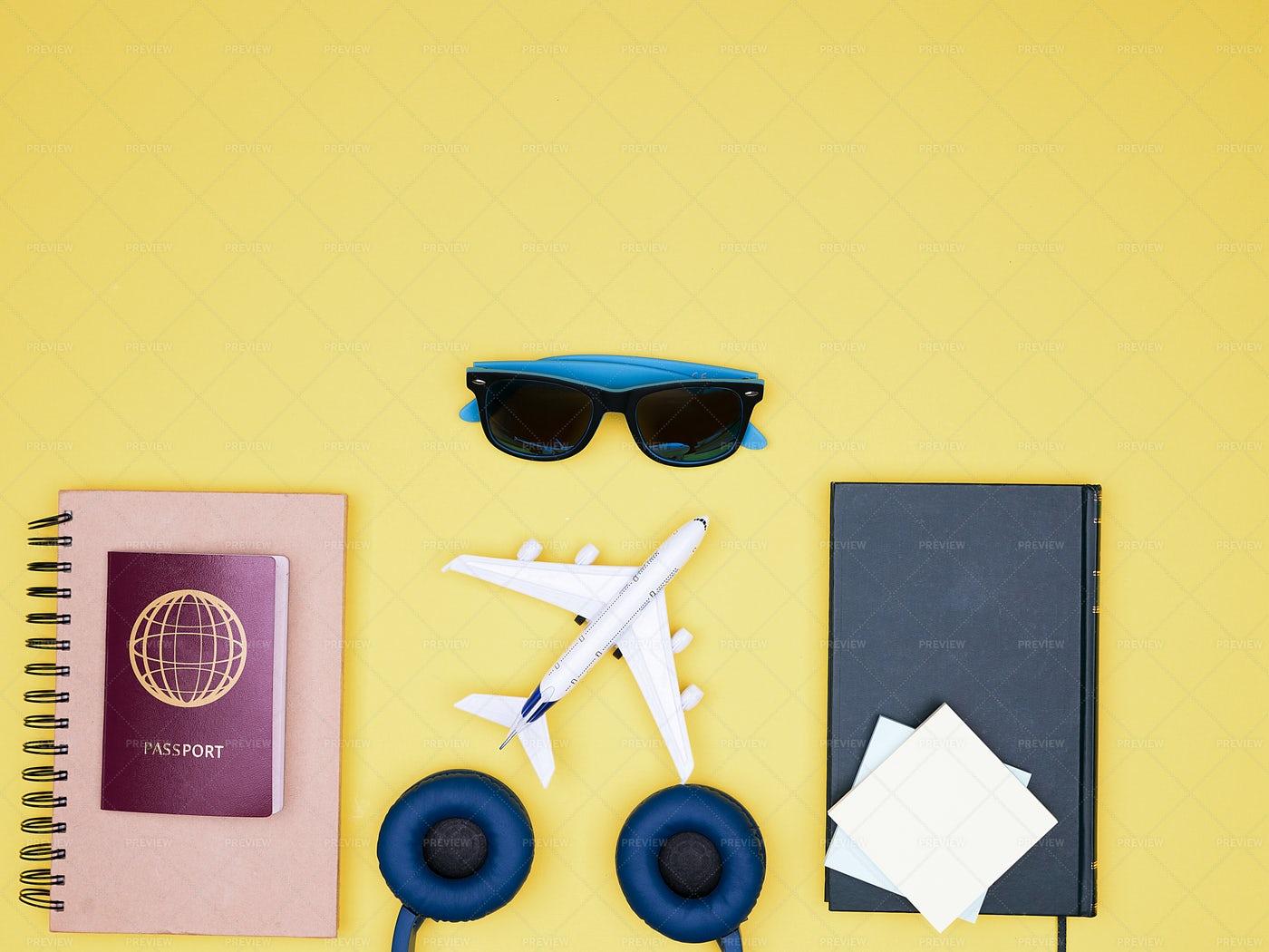 Traveler Kit Top View: Stock Photos