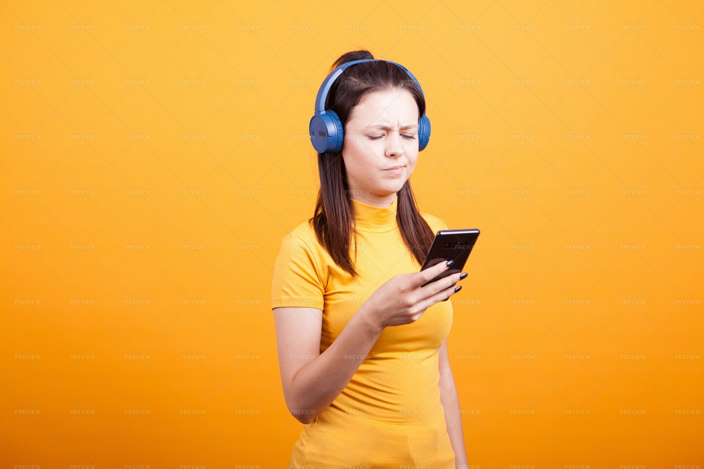 Girl Reading Text Messages: Stock Photos