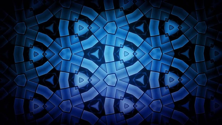 Kaleidoscope Blue Pattern: Stock Motion Graphics