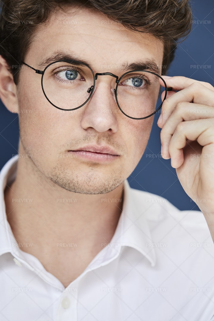 Serious Young Man In Glasses: Stock Photos