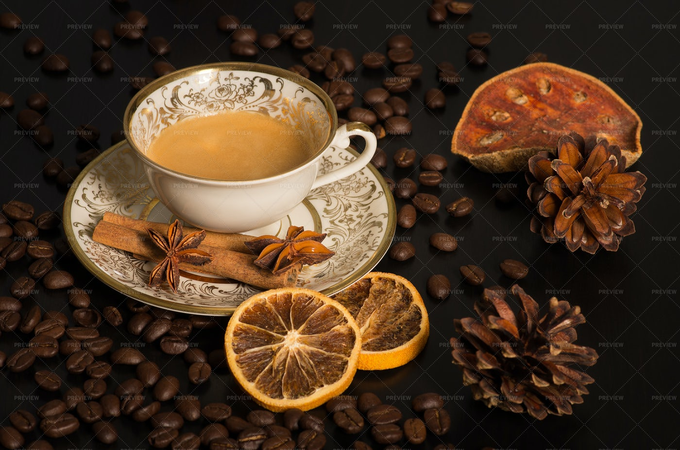 An Old Coffee Cup With Decoration: Stock Photos