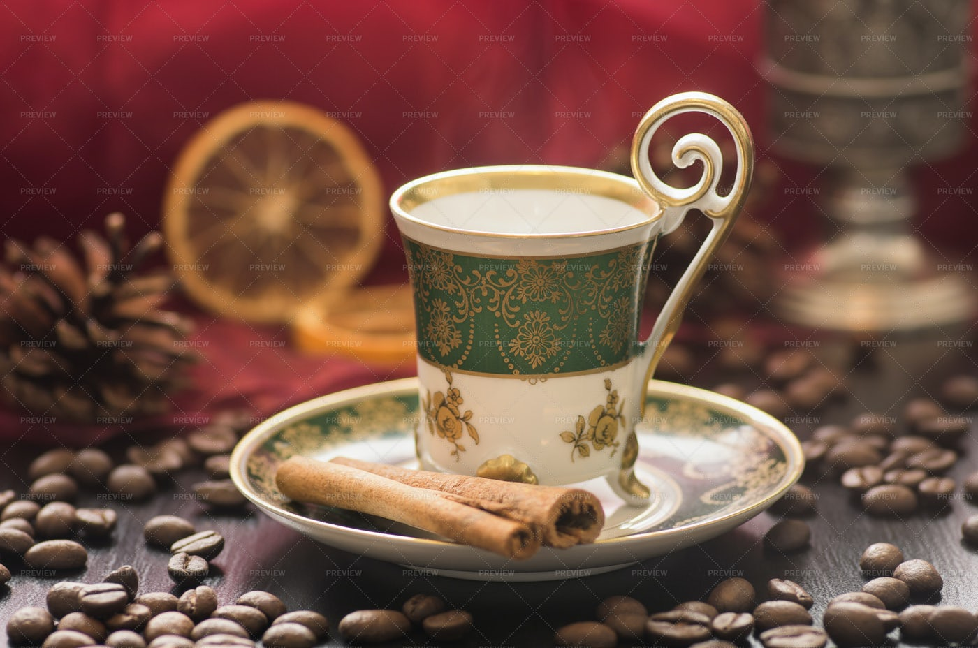 Mocha In An Old Oriental Cup: Stock Photos