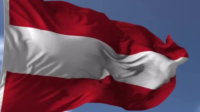 Realistic Austria Flag Blowing on the Wind: Stock Motion Graphics