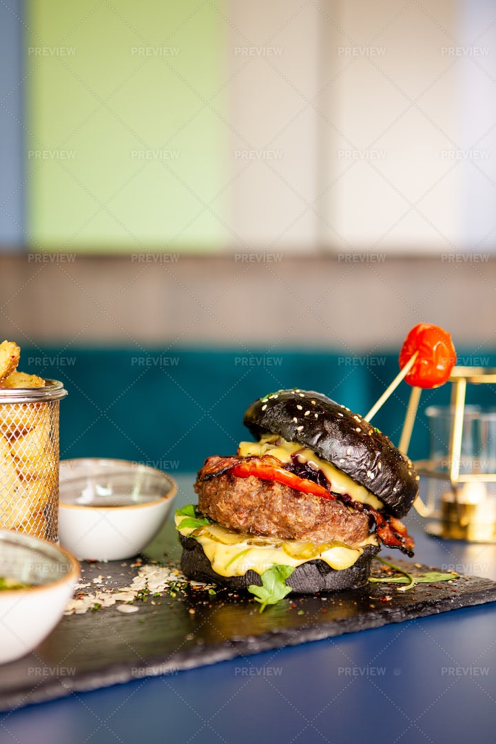 Black Burger With Beef Meat: Stock Photos