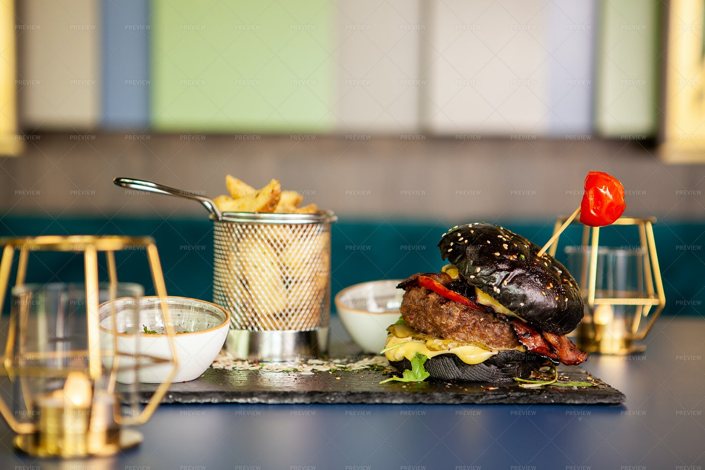 Black Burger With French Fries: Stock Photos