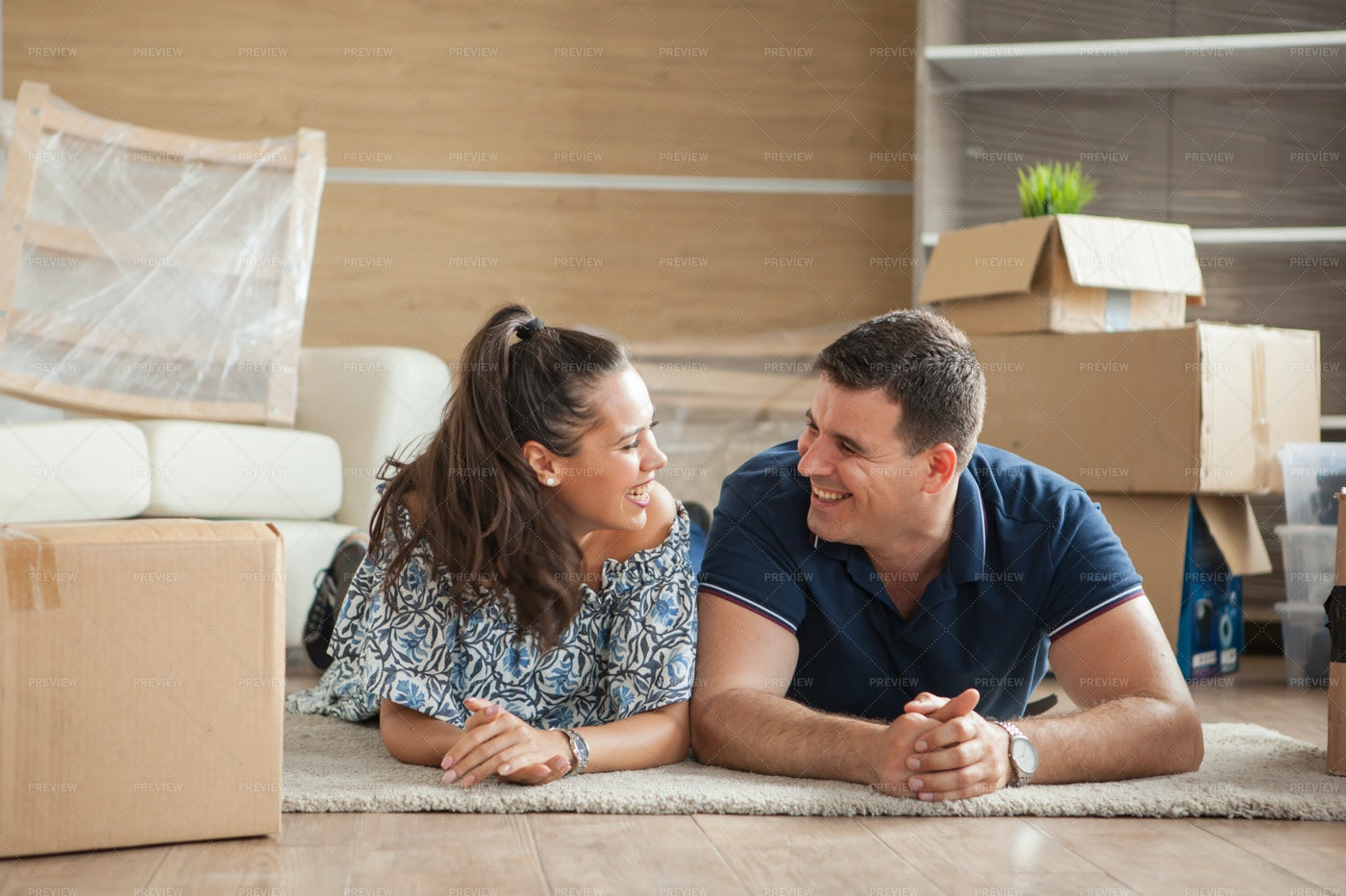 Couple In Their New Flat: Stock Photos
