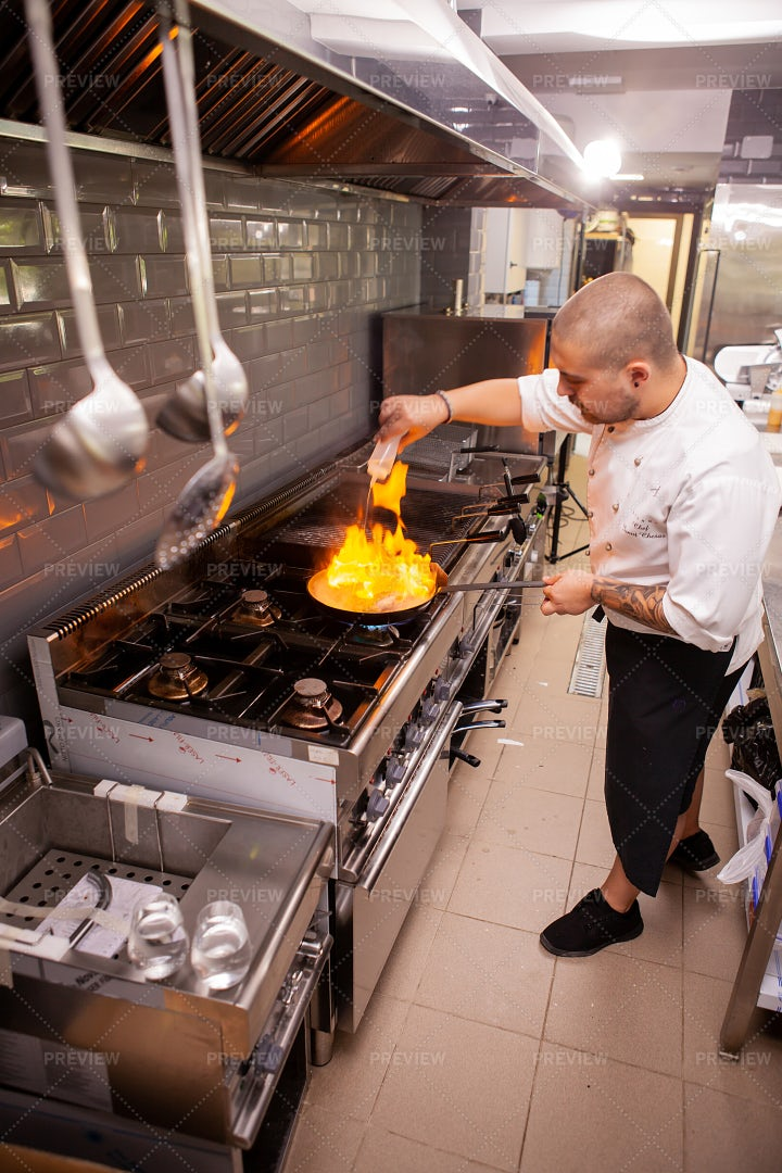 Flambe In Kitchen: Stock Photos