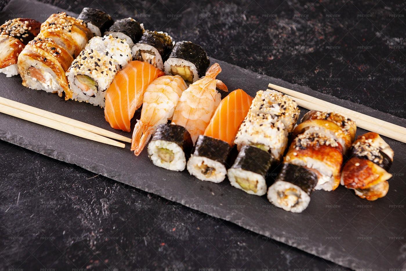 Types Of Sushi: Stock Photos