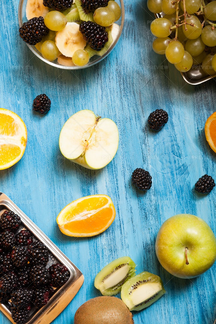 Top View Of Fresh Fruits: Stock Photos