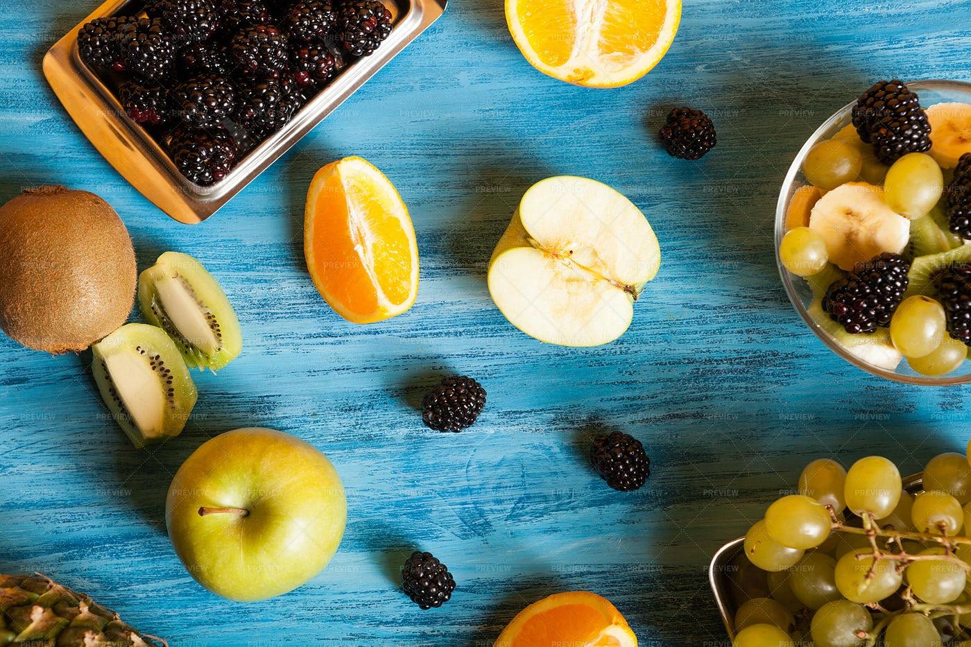 Apple, Oranges, Kiwi and Berries: Stock Photos