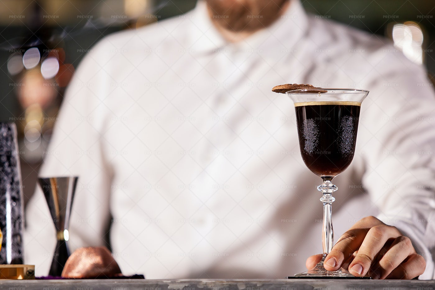 Bartender Presenting Coffee Cocktail: Stock Photos