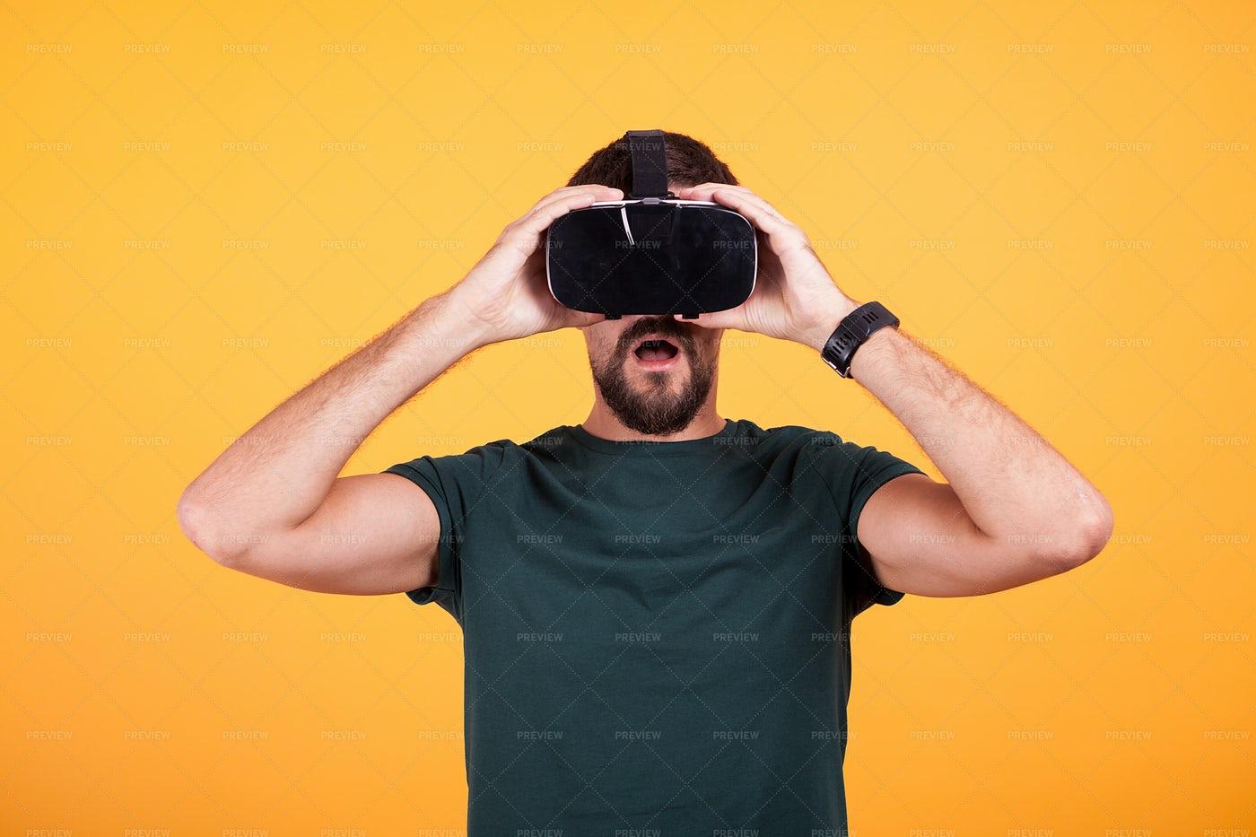 Amazed Man With VR Headset: Stock Photos