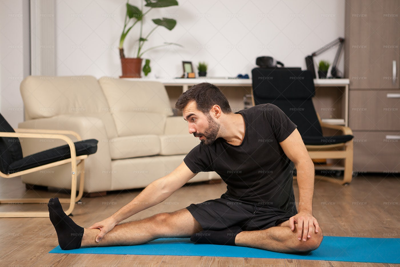 Yoga In The Living Room: Stock Photos