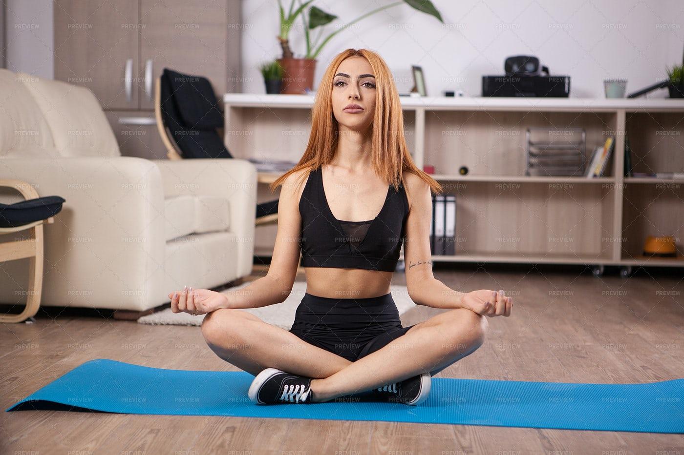 Yoga Girl Sitting In Lotus: Stock Photos