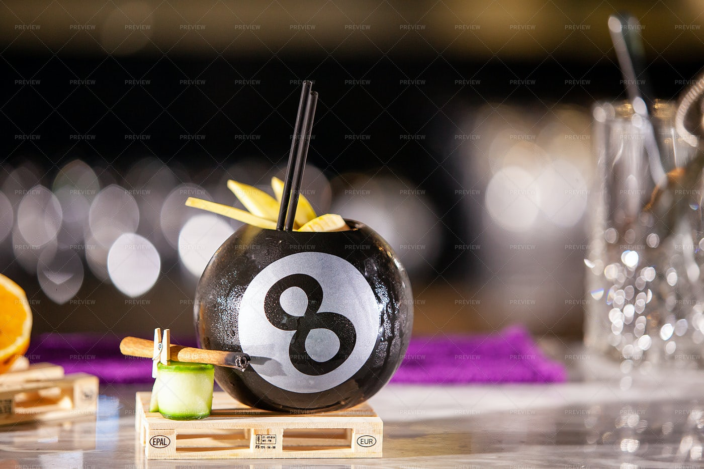 Cocktail In A Billiard Ball: Stock Photos