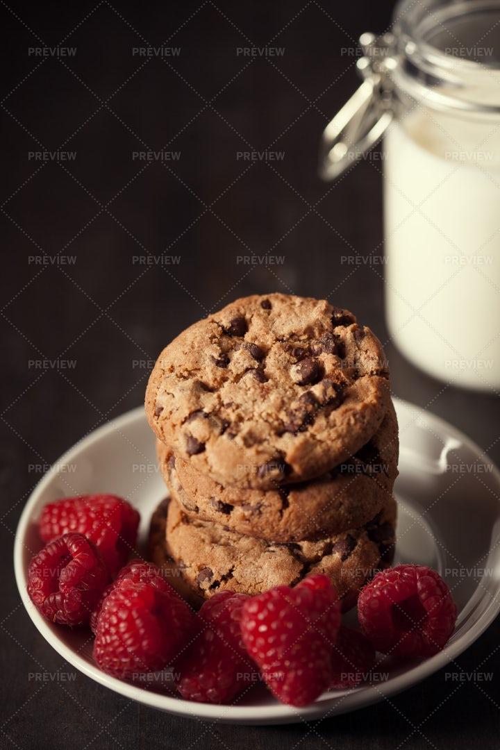 Cookies With Raspberries: Stock Photos
