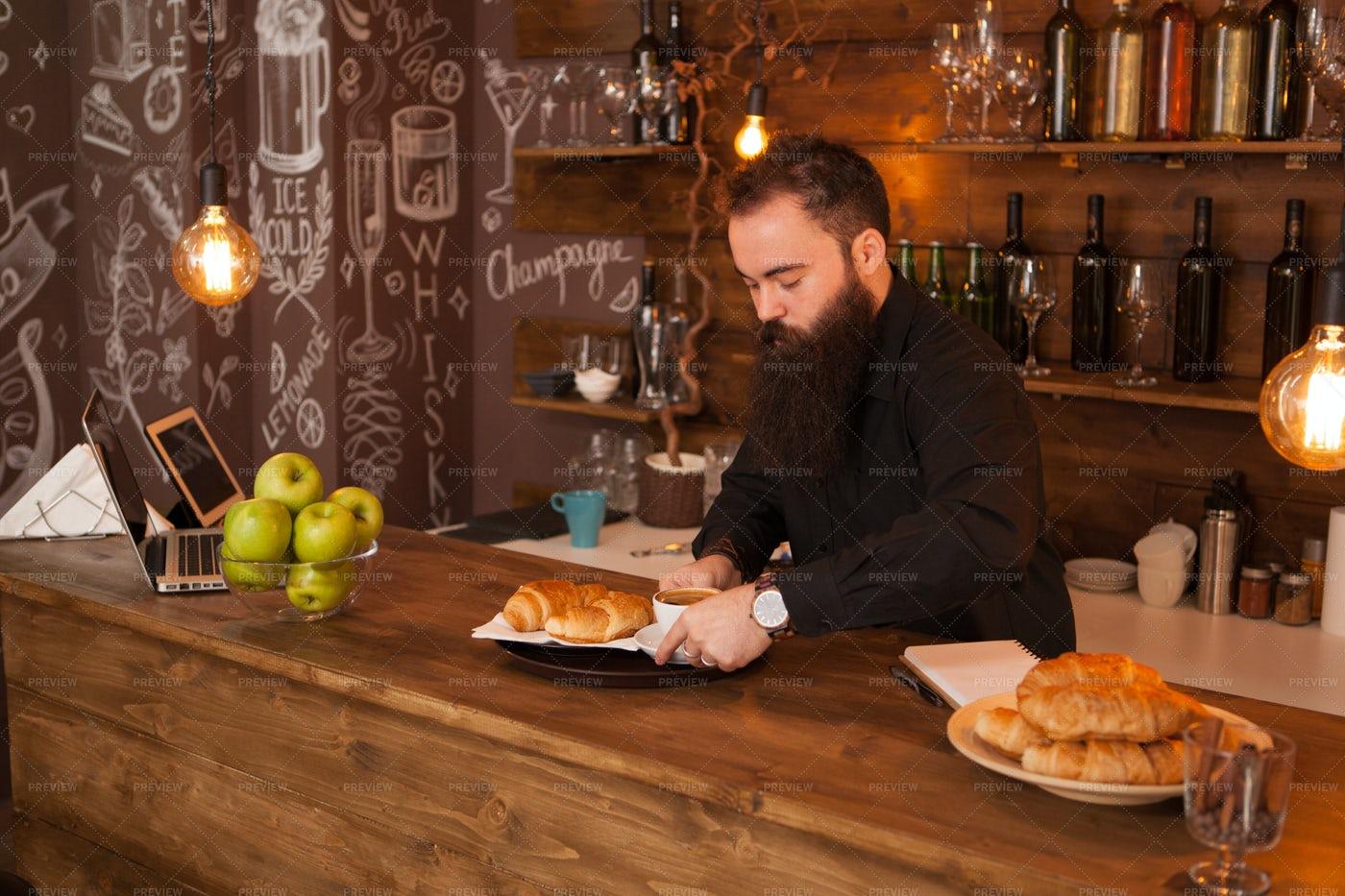 Barman Behind A Bar Counter: Stock Photos