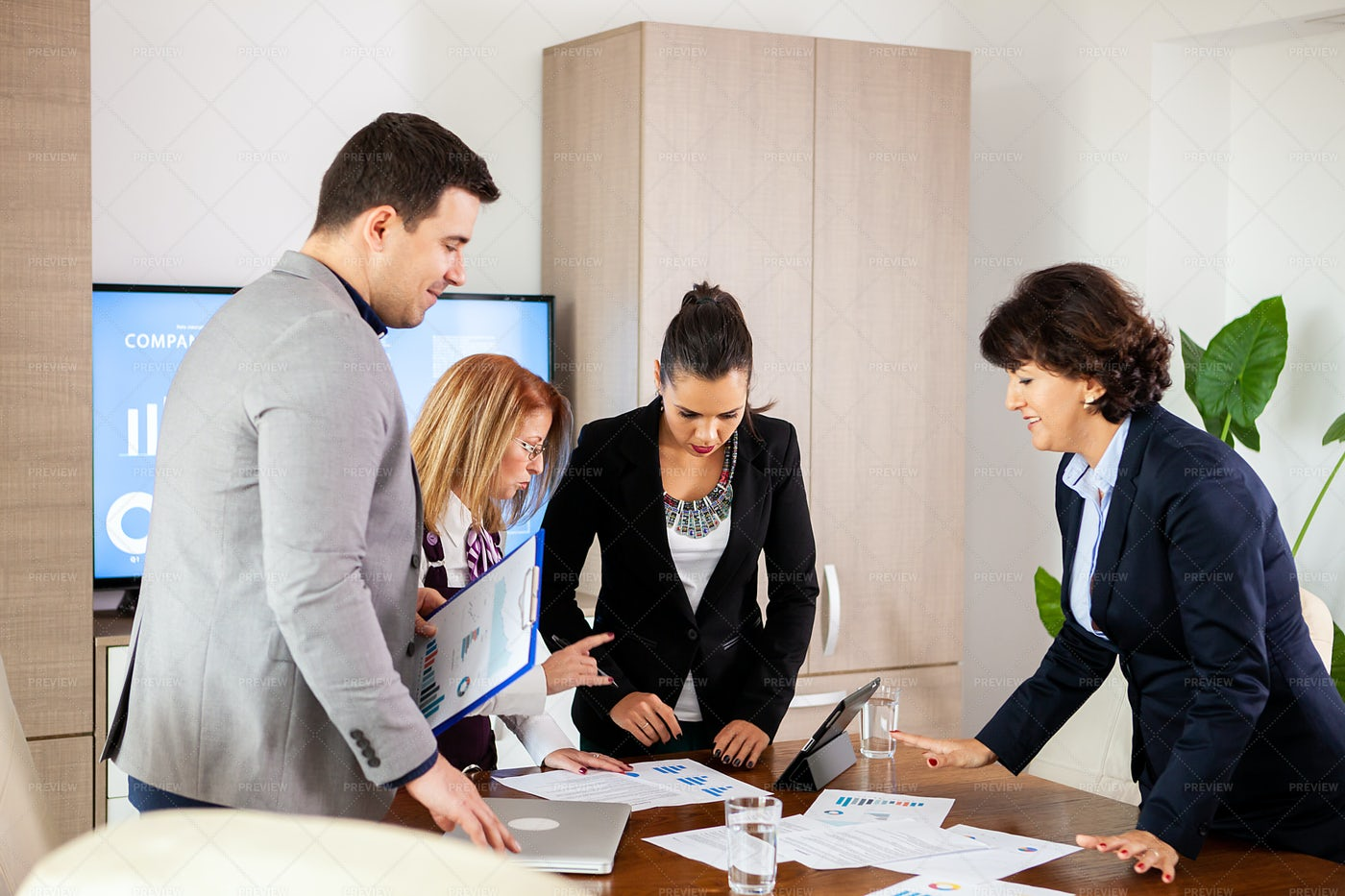 Brainstorming Meeting In Conference Room: Stock Photos