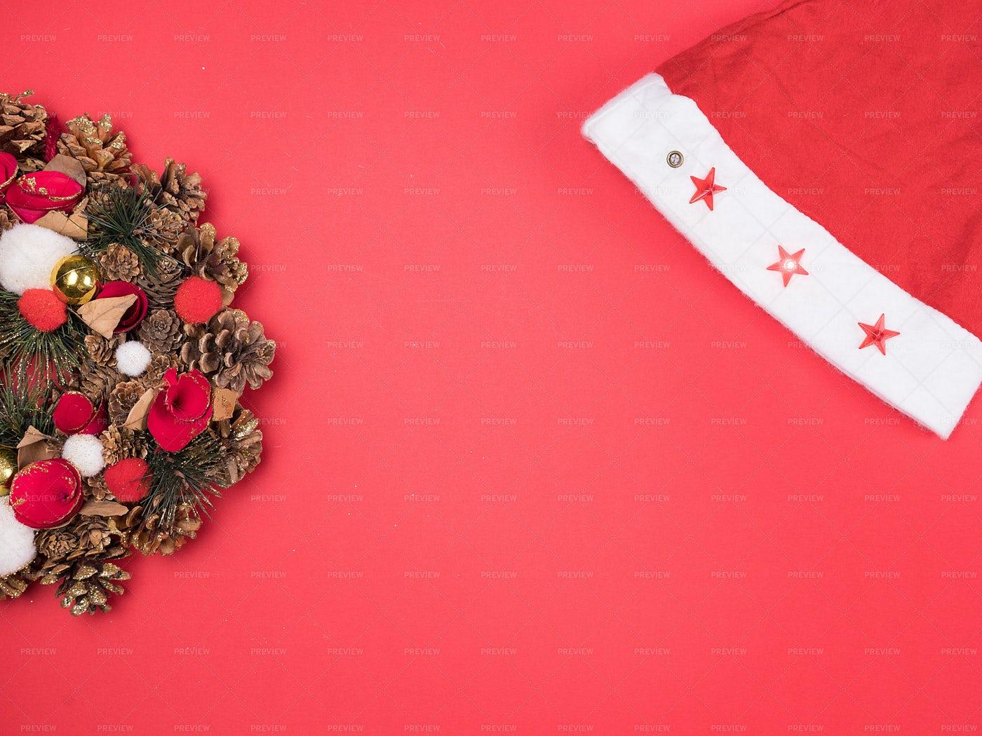 Santa Hat And Wreath: Stock Photos