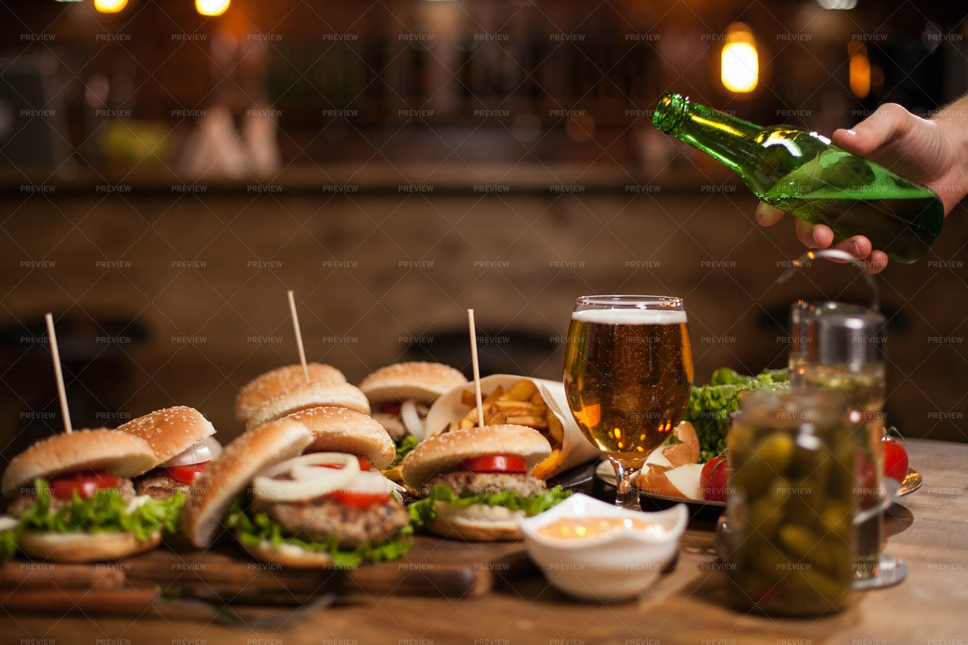 Beer With Burgers: Stock Photos