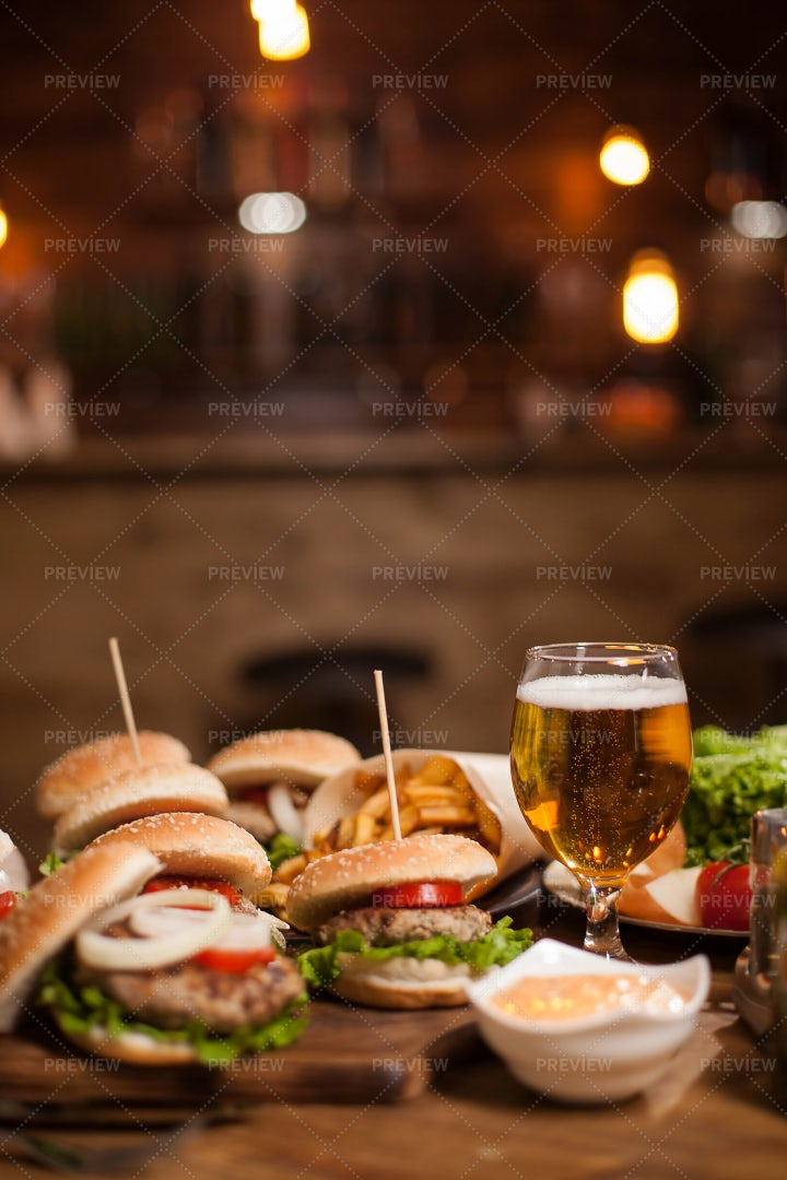 Burgers And A Glass Of Cold Beer: Stock Photos
