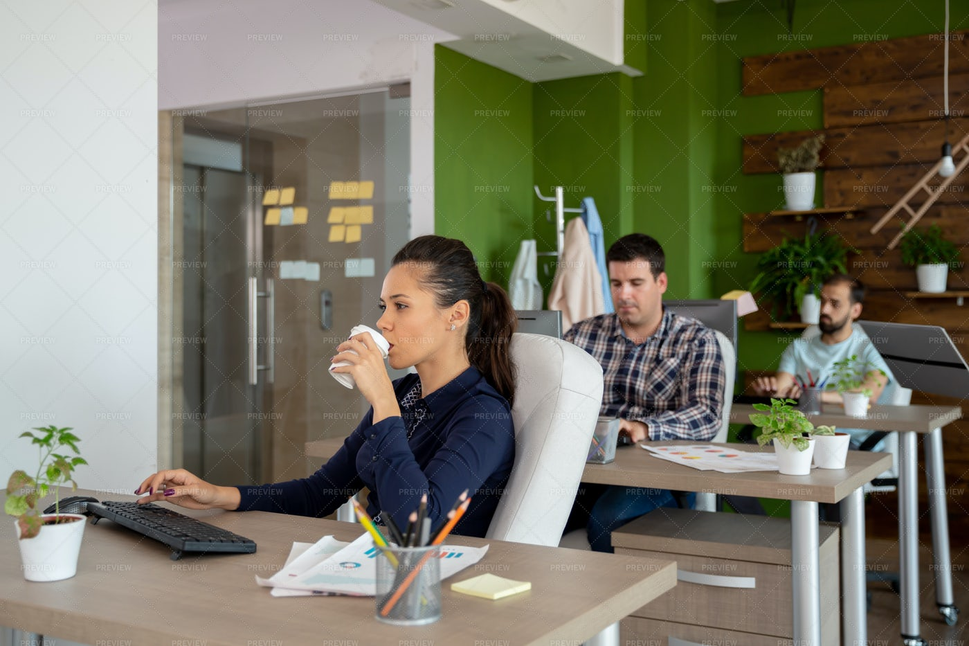 Morning Coffee In The Office: Stock Photos