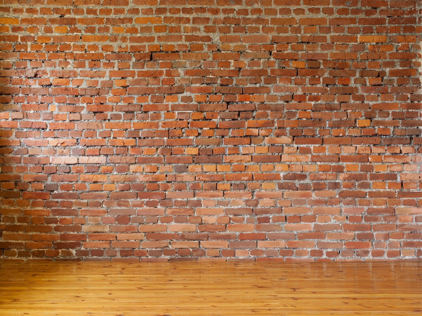 Empty interior with red brick wall: Stock Photos