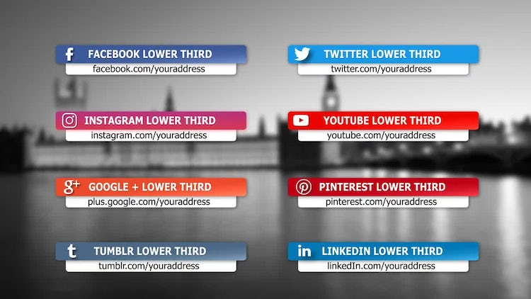 Social media lower third package after effects templates motion social media lower third package after effects templates maxwellsz