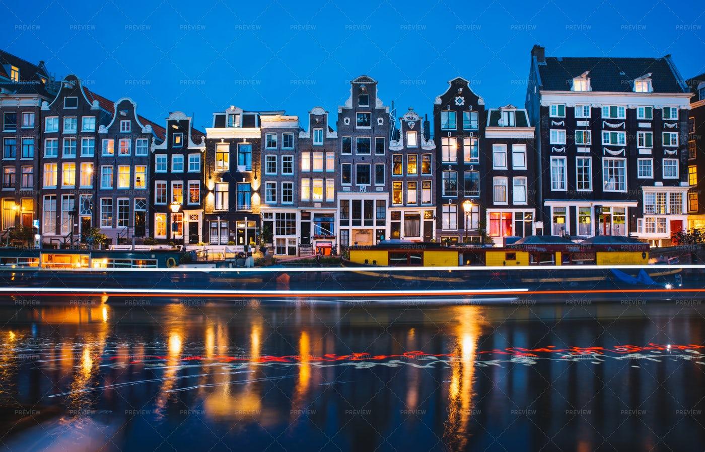 Amsterdam's Famous Dutch Houses: Stock Photos