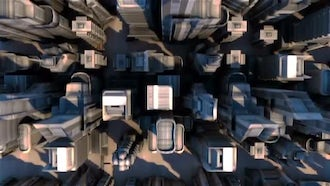 Cybernetic City With Futuristic Buildings: Motion Graphics