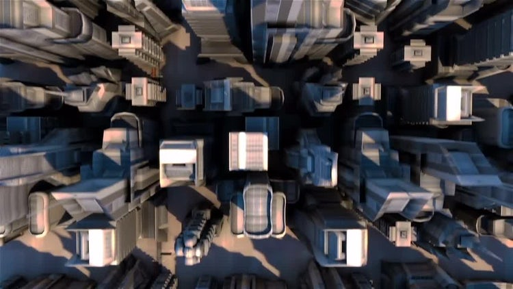 Cybernetic City With Futuristic Buildings: Stock Motion Graphics