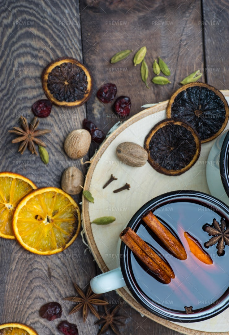 Mulled Wine And Spices: Stock Photos