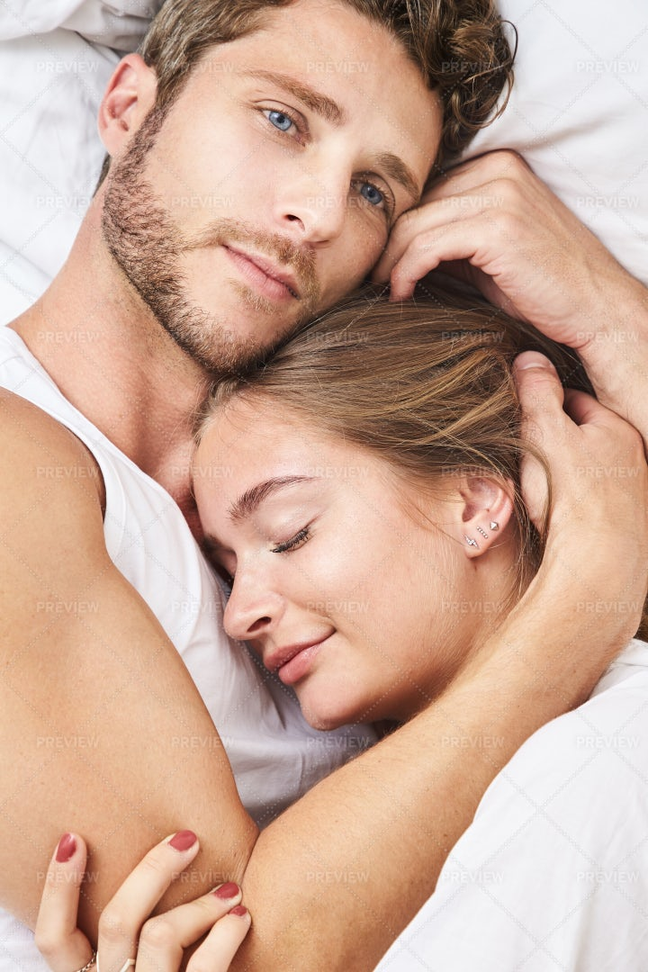 Happy Couple Hugging In Bed Stock Photos Motion Array
