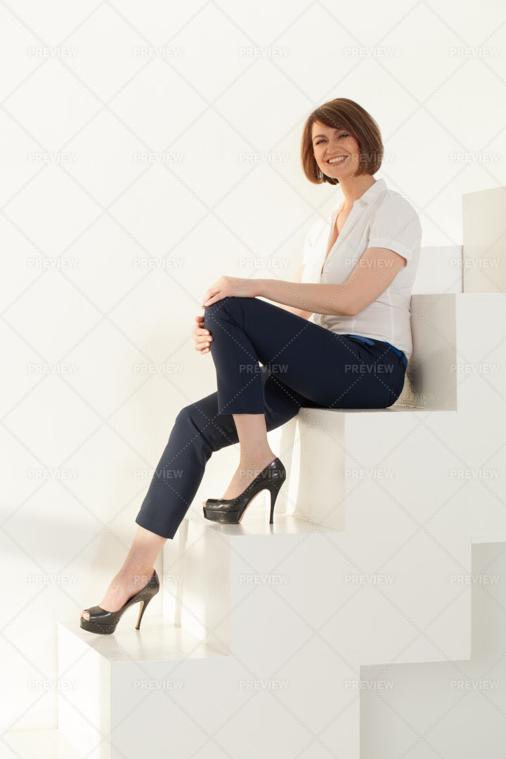 Woman On The Steps: Stock Photos
