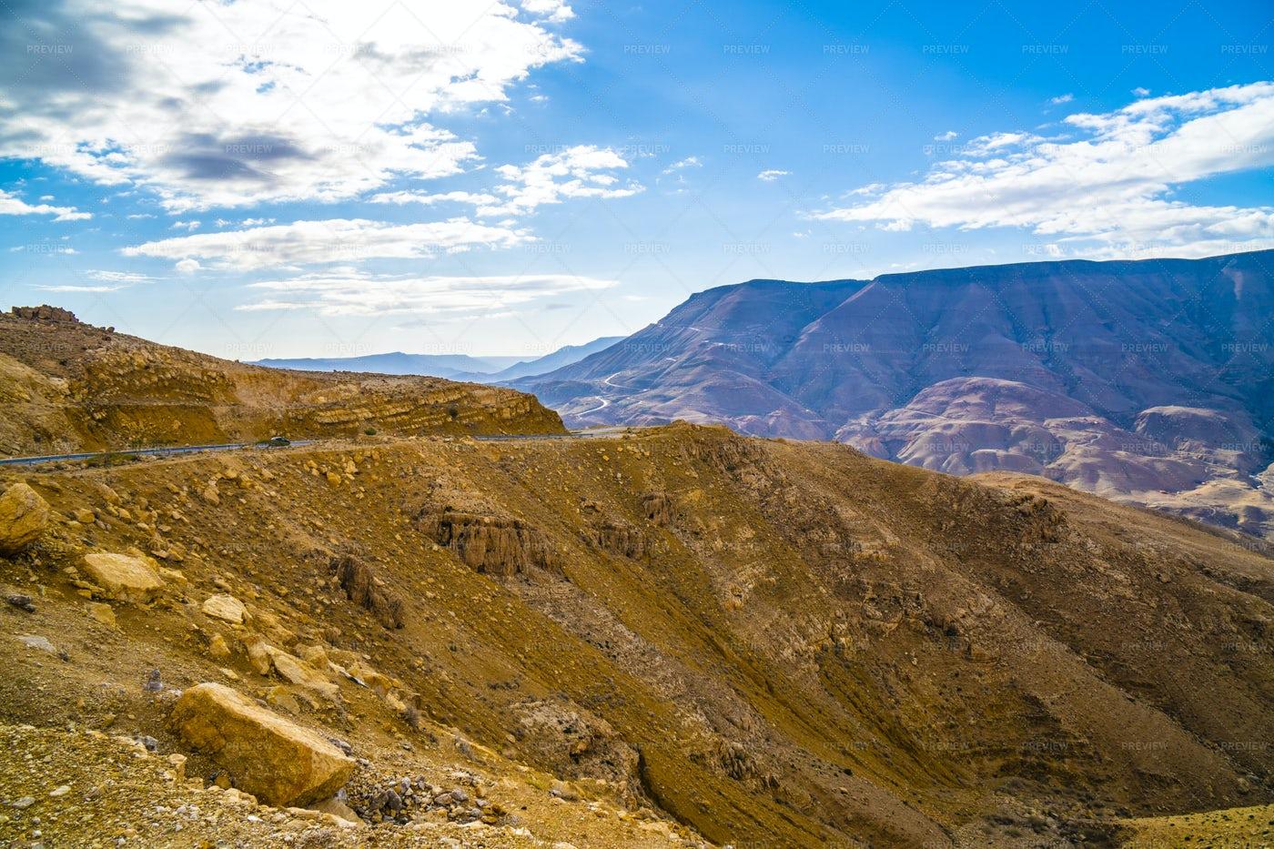 Wadi Mujib Canyon and Desert, Jordan: Stock Photos