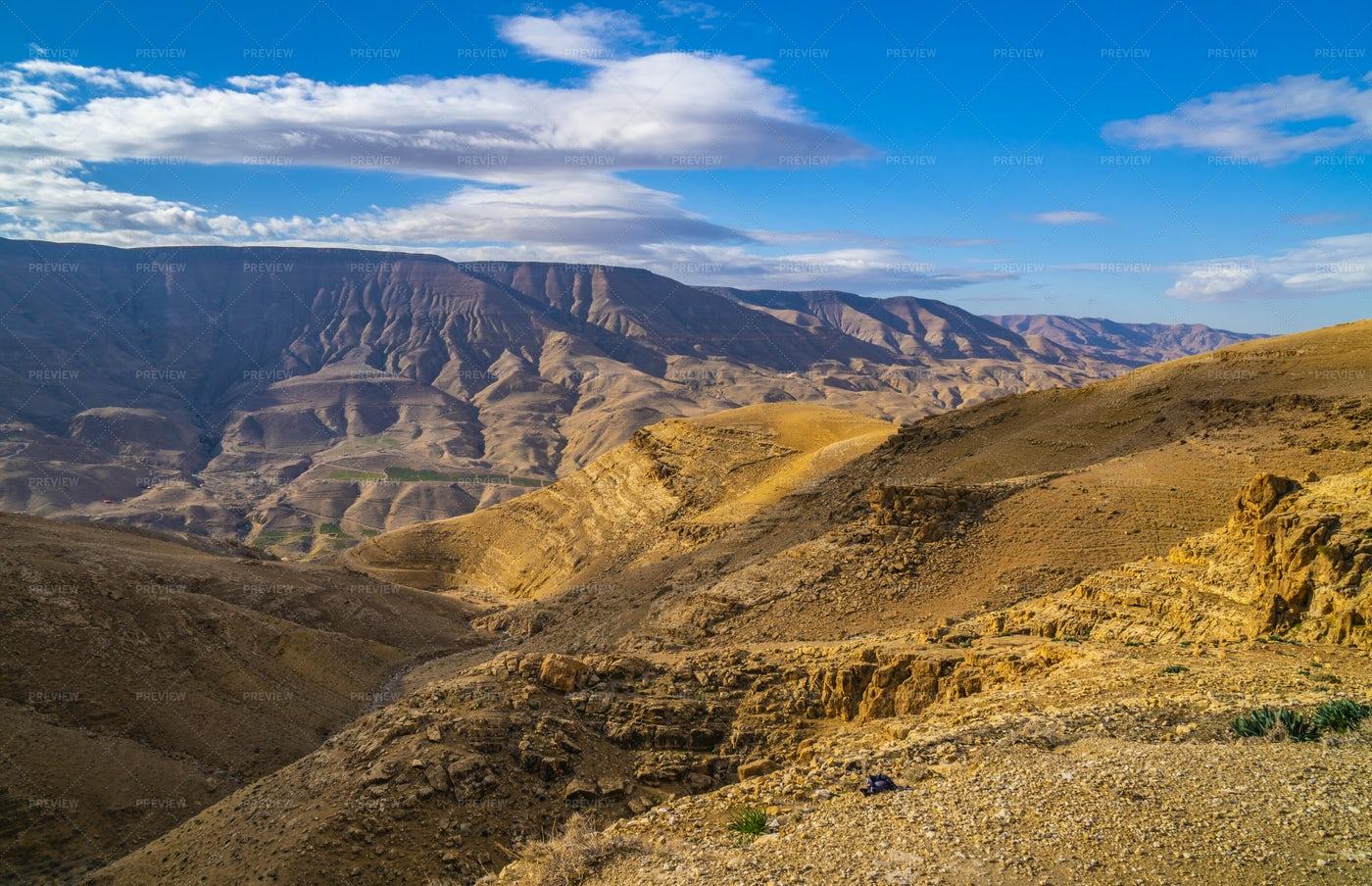 Wadi Mujib Canyon And Desert: Stock Photos