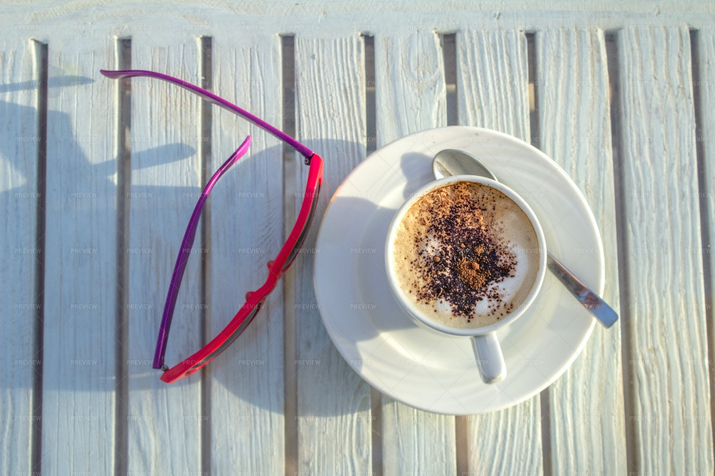 Cappuccino And Sunglasses: Stock Photos