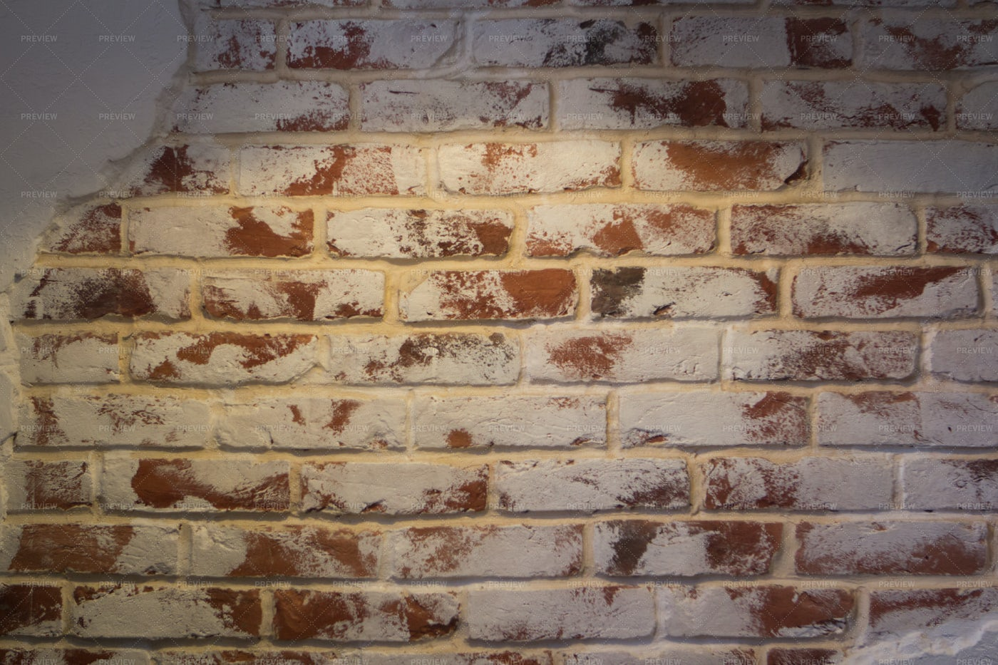 Old Red Brick Wall With White Paint: Stock Photos