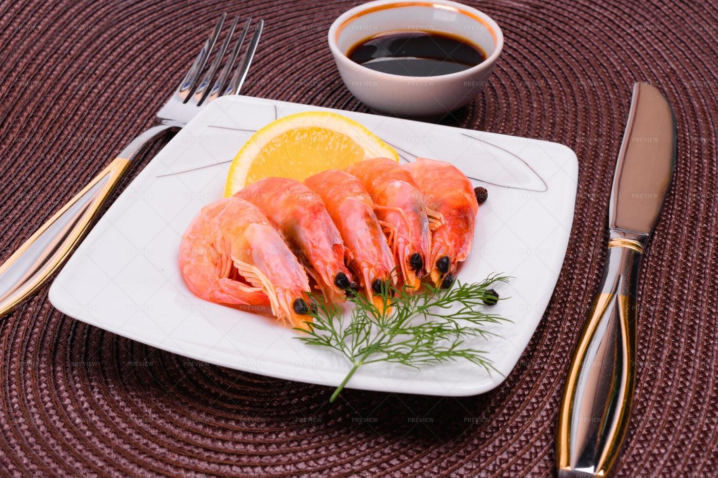 Boiled Shrimp And Sauce: Stock Photos