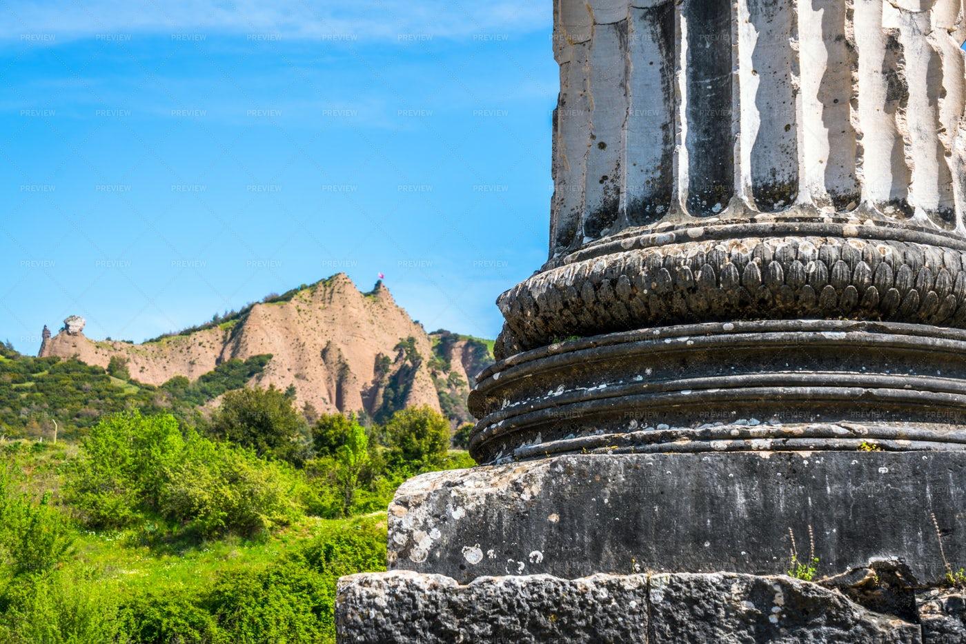 Artemis Temple Column Base: Stock Photos