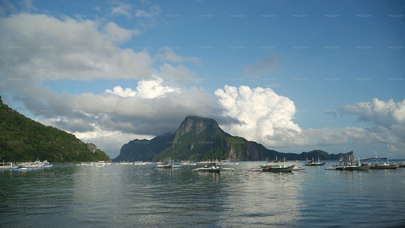 Seascape With Mountains: Stock Photos