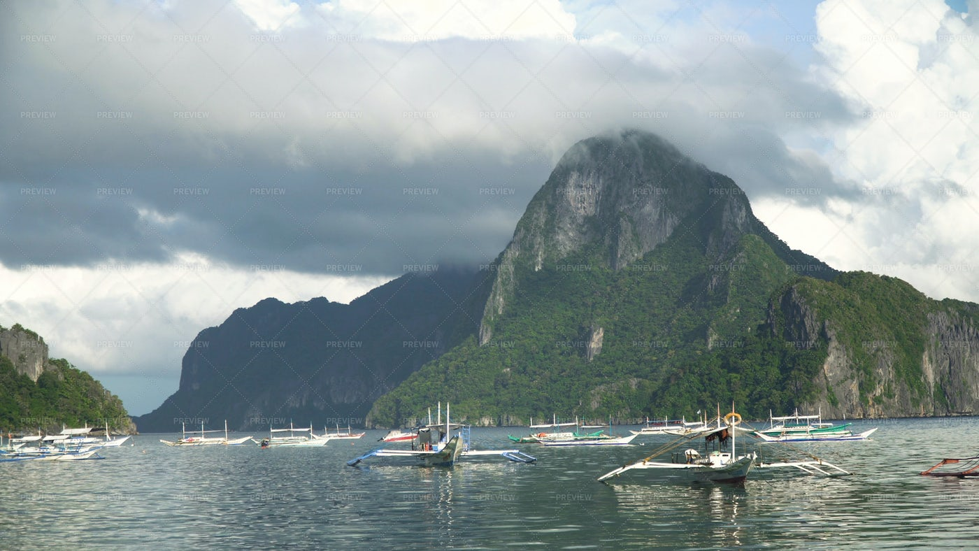 Seascape With Island Mountains: Stock Photos