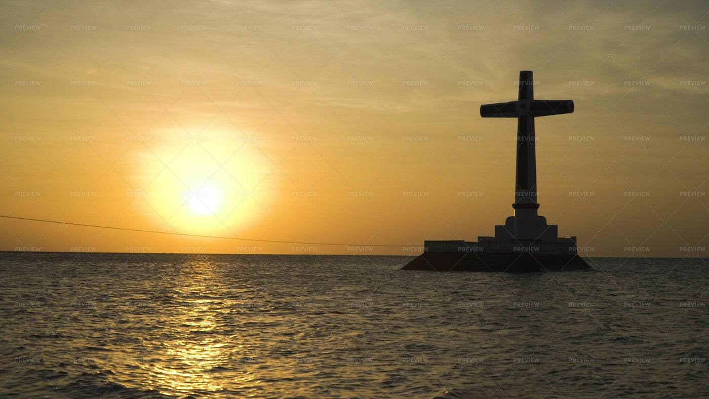 Catholic Cross At Sunset: Stock Photos