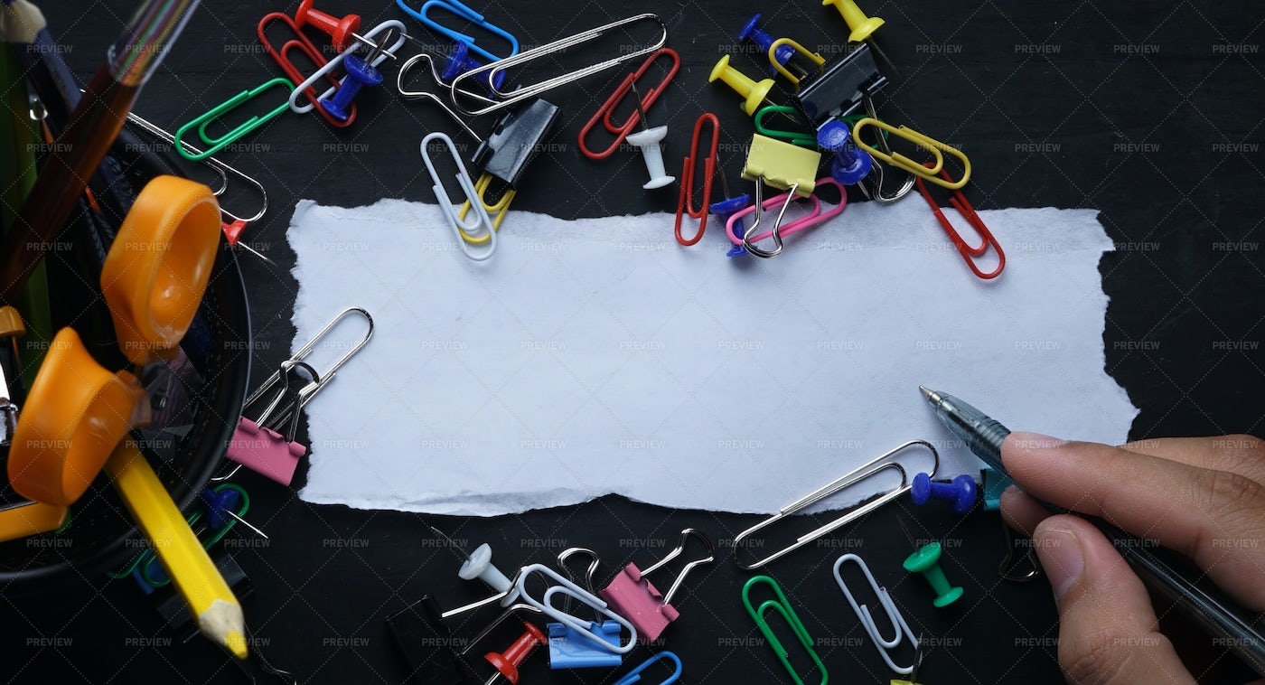 Torn Paper And School Supplies: Stock Photos