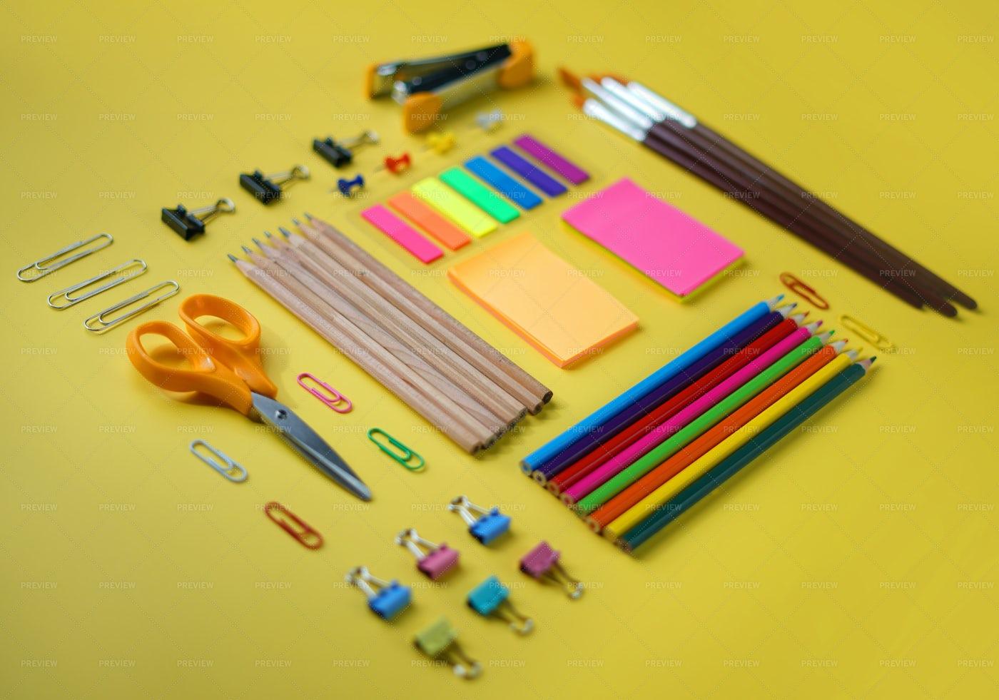Neat Arrangement Of Supplies: Stock Photos